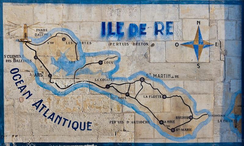 Carte de l'île de Ré pour mieux situer vos chambres d'hôtes-Les Fillattes