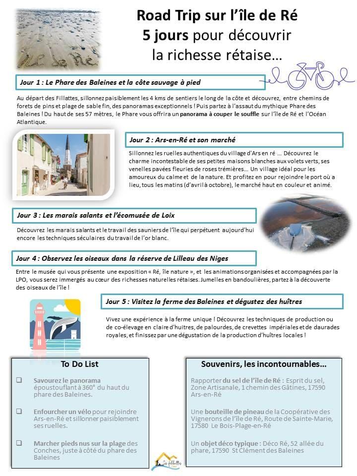 5 jours pour decouvrir les richesses rétaises lors de votre séjour en chambre d'hôtes sur l'île de Ré - Les Fillattes