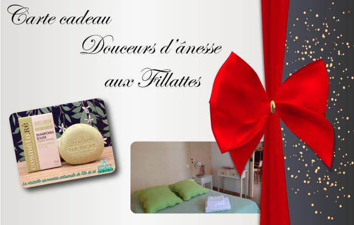 Découvrez la carte cadeau Douceur d'anesse lors de votre séjour aux chambres d'hôtes Les Fillattes sur l'île de Ré